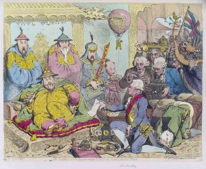 The reception of the (Macartney) Diplomatique and his suite at the Court of Pekin. James Gillray, published by Hannah Humphrey. Hand-colored etching, published London, September 14, 1792. (NPG D12463 © National Portrait Gallery, London.)